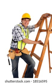 Young Happy Carpenter Ready to Work on Isolated Background