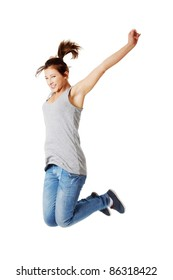 Young happy caucasian woman jumping in the air , isolated on white background