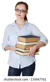 Young happy caucasian woman (student) with books, isolated