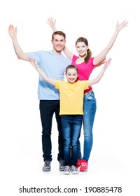 Young happy cheerful family with child raised hands up - isolated on white background.