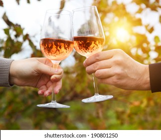 Young happy couple enjoying a glasses of pink wine in a vineyard