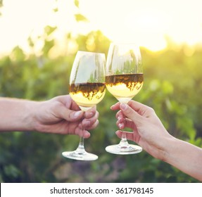 Young happy couple enjoying a glasses of white wine in the vineeard