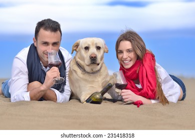 young happy couple enjoying at sea