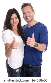 Young happy couple in love with thumbs up