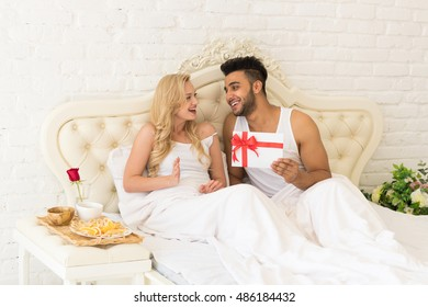 Husband Flirting Wife Bedroom Romantic Evening Stock Photo (Edit Now ... cb1021eac