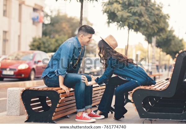 Young Happy Couple Together Cheerful Guy Stock Photo Edit Now