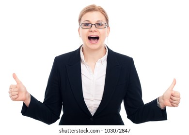 Young happy excited businesswoman thumbs up, isolated on white background.