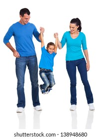 young happy family having fun on white background