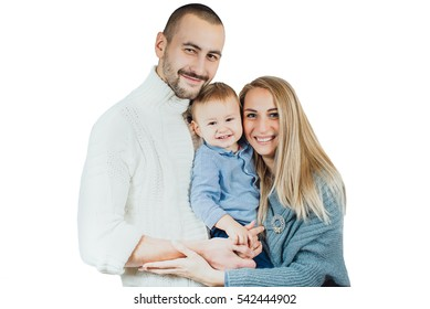 young happy family on a white background, isolated