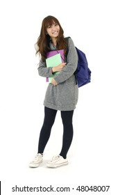 Young happy female carrying bag with notebooks