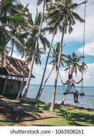 Young happy female swinging on a tropical jungle swing near a sea under palm trees. Summer relaxing vacation in paradise in Bali island, Indonesia.