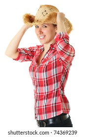 young happy girl in straw hat and red shirt, studio shoot isolated on white