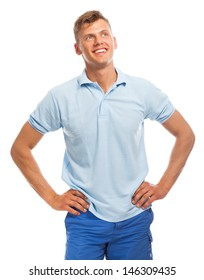 Young happy handsome man isolated over white background