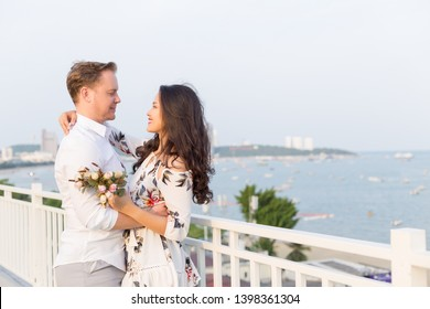 Young happy Interracial couple with happy moment in vacation time.
