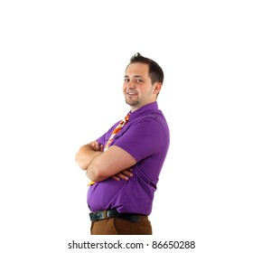 young happy man in bright colour wear with funny expression
