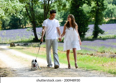 young happy man and woman couple walking with their dog in summer vacation in countryside
