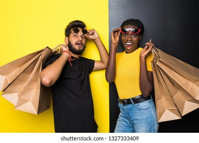 9ca1eed6d4 Young happy mixed race couple indian man and african woman in sunglasses  shocked of sale with