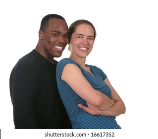 Young Happy Multi Racial Couple Smiling on White Background