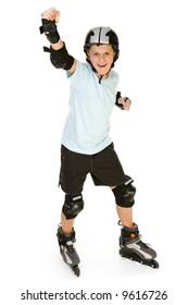 Young, happy roller boy in protection kit standing with hand up and looking at camera. Front view. Isolated on white background.