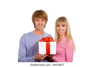 Young happy smile couple, hold christmas or valentine gift box, isolated over white background