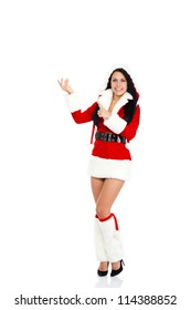 young happy smile woman wear Santa Clause costume hold blank board point finger to empty copy space, attractive christmas new year party girl happy smile, full length isolated over white background