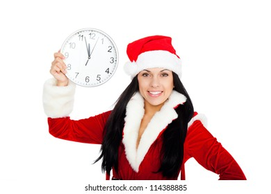 young happy smile woman wear santa clause costume, attractive christmas new year party girl looking at camera hold clock, isolated over white background
