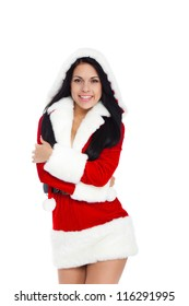 young happy smile woman wear Santa Clause costume, attractive christmas new year party girl looking at camera, isolated over white background