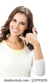 Young happy smiling beautiful woman showing call me gesture, isolated over white background