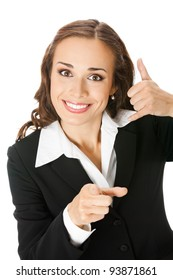 Young happy smiling business woman with call me gesture, isolated over white background