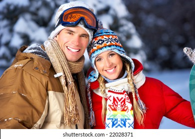 Young  happy smiling couple in love. Winter