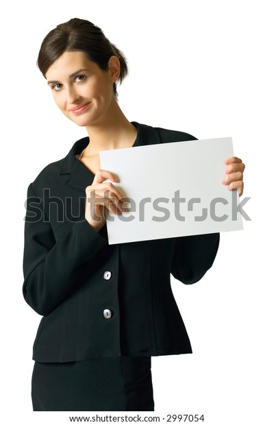 Young happy smiling secretary, businesswoman, student or teacher with blank sign, isolated on white background