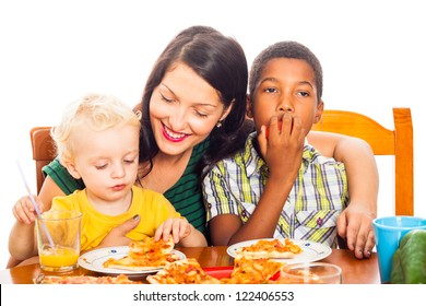 Young happy smiling woman with children eating pizza, isolated on white background.