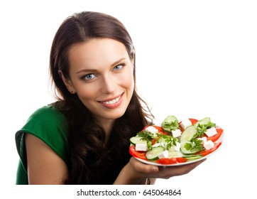 Young happy smiling woman with fegetarian salad, isolated over white background. Healthy eating and weight lossing concept shot.