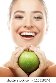Young happy smiling woman with green apple, isolated on white