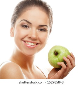 Young happy smiling woman with green apple