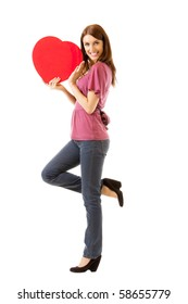 Young happy smiling woman with heart symbol, isolated