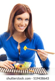 Young happy smiling woman with salad, isolated on white background. Healthy eating and vegetarian dieting concept studio shot.