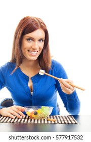 Young happy smiling woman with salad, isolated on white background