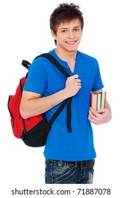 young happy student holding bag and books
