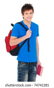 young happy student holding bag and book
