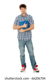 Young happy student man with notebook gesturing OK,isolated on a white background