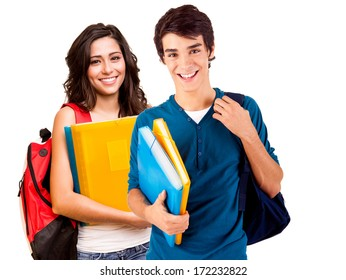Young happy students over white background