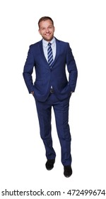 Young happy succesful businessman isolated on white. Portrait of a confident guy in trendy blue suit looking at camera and smiling