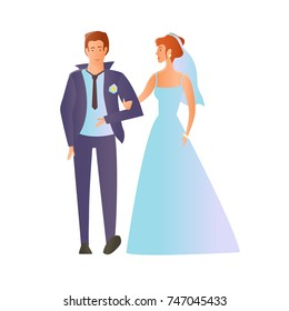 Young happy wedding couple. Man and woman in love. Illustration, isolated on white background. Raster version.