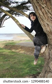 young happy woman climbing in a tree to watch the ocean