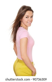 Young happy woman in colorful casual wear isolated on white