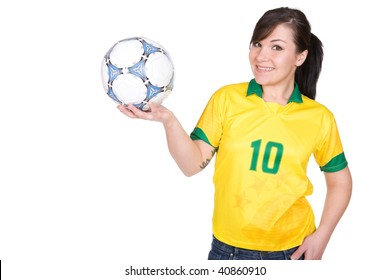 young happy woman with football. over white background
