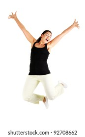 Young happy woman jumping in the air , isolated on white background