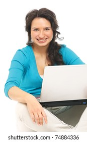 A young happy woman with a laptop sitting