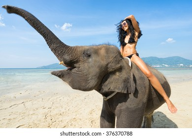 Young happy woman on elephant in the sea. Tropical vacation